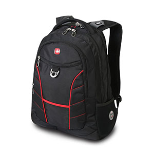 SwissGear 175 Black Laptop Backpack with Red Accents